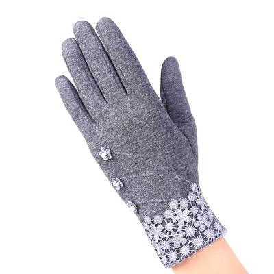幸福揚邑-防風加絨觸控騎車開車保暖棉手套-典雅蕾絲-灰色