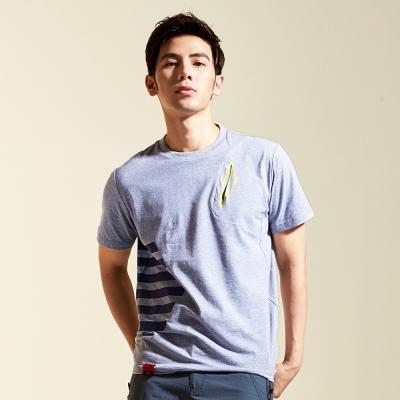 【AIRWALK】幾何線條素色棉圓領T恤-灰色