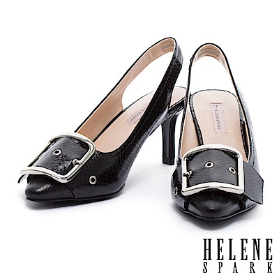 高跟鞋 HELENE SPARK 時尚金屬大飾釦點綴蛇紋牛皮繫帶尖頭高跟鞋-黑