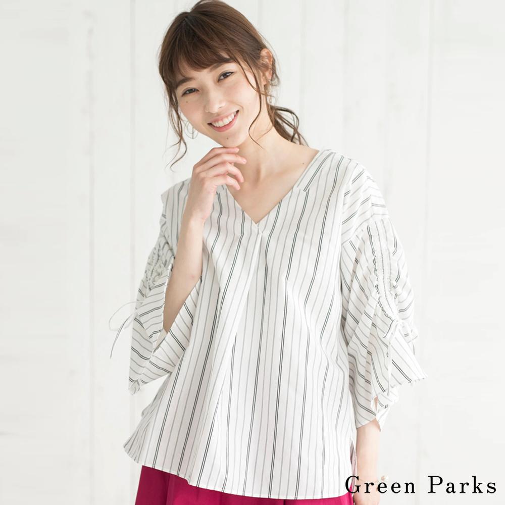 Green Parks 袖抽繩條紋V領襯衫