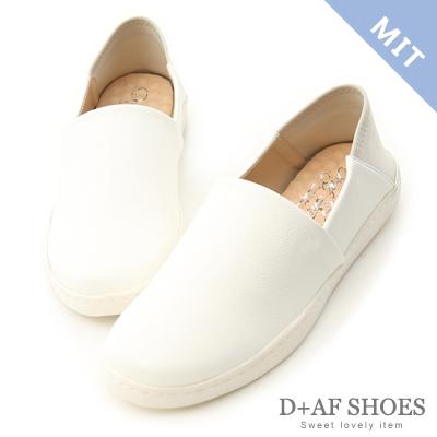 D+AF 樂活滿分.MIT後踩式萊卡2way懶人鞋*白