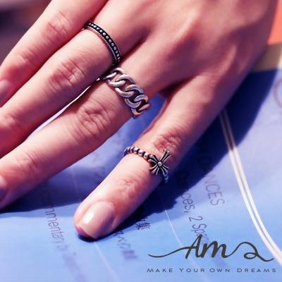 AM輕飾品 十字架麻花純銀戒指 開口戒 活圍戒