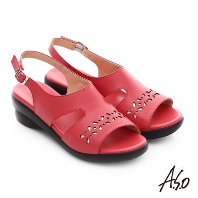A.S.O 趣踏輕 金箔牛皮工字環釦涼拖鞋 紅色
