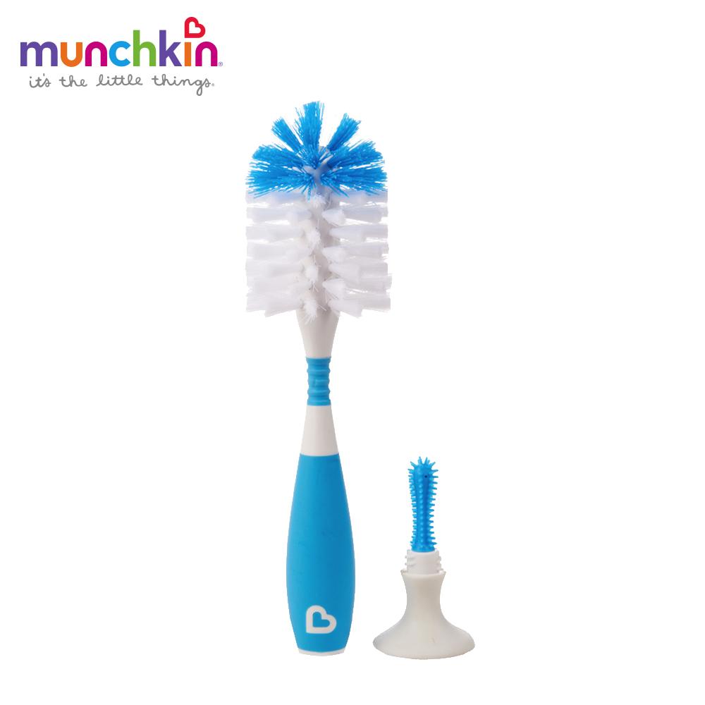 munchkin滿趣健-二合一奶瓶奶嘴刷(吸盤)-藍