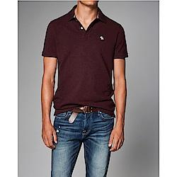 A&F 經典刺繡麋鹿短袖Polo-酒紅色 AF Abercrombie
