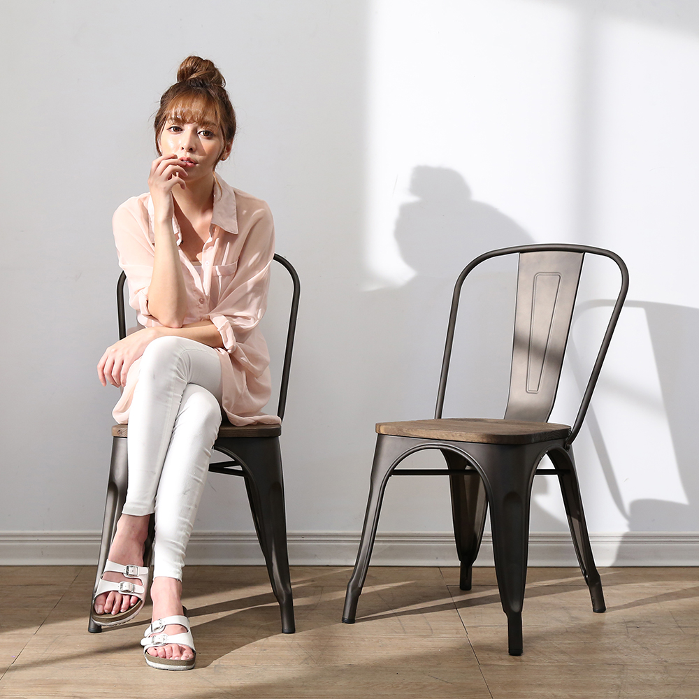 BuyJM Tolix復刻版工業風榆木餐椅/洽談椅35x36x85公分-免組