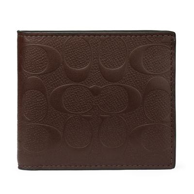 COACH 防刮皮革經典C LOGO壓紋零錢袋摺疊短夾-咖啡色