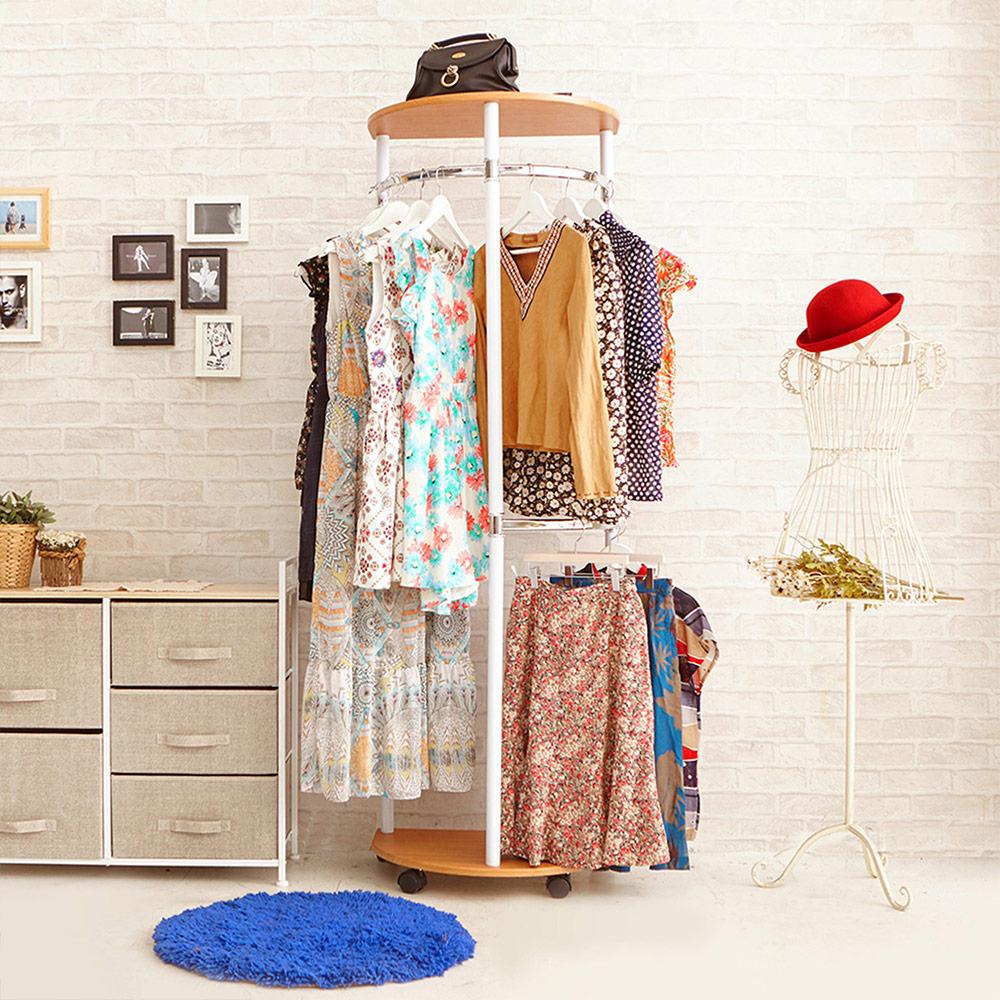 澄境 便利型臥室玄關收納衣帽架/吊衣架/掛衣架-櫸木紋-DIY