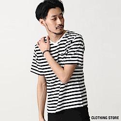 V領橫條紋短袖T恤(20色) ZIP日本男裝
