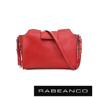 RABEANCO 珠光牛皮完美立體設計肩/斜揹包  紅