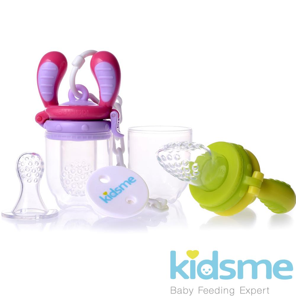 英國kidsme咬咬樂輔食器基本套裝組-(綠黃/紫紅)