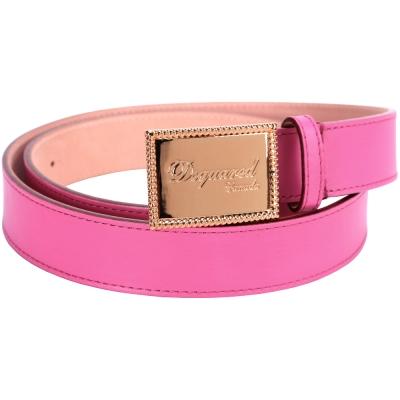 DSQVARED 方形金屬牌飾皮革腰帶(桃粉色)