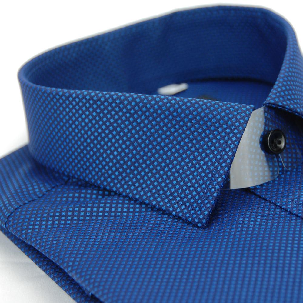 【金安德森】深藍色方格紋黑釦窄版長袖襯衫