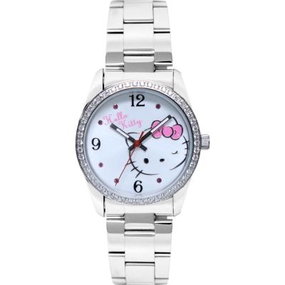 HELLO KITTY 凱蒂貓俏皮眨眼晶鑽手錶-白/36mm