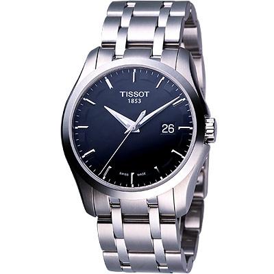 TISSOT Couturier 建構師系列三針時尚錶(T0354101105100)-39mm