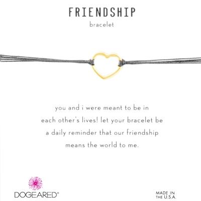 Dogeared Friendship 金色愛心手鍊 經典墜 黑X灰 防水繩衝浪手鍊
