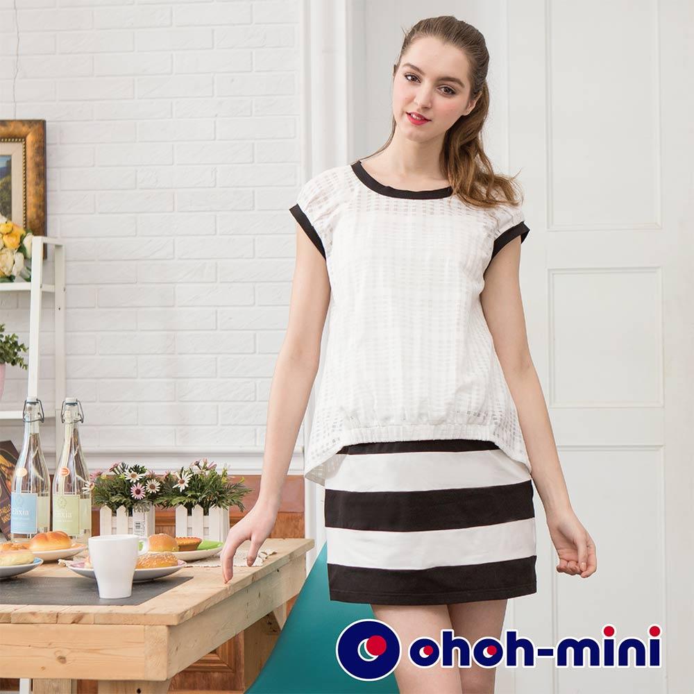 【ohoh-mini 孕婦裝】簡約OL透視配色洋裝