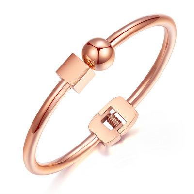 ACUBY-鋼製方圓之間手環-玫金
