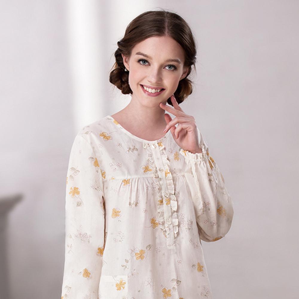 羅絲美睡衣 - 花漾序曲甜美長袖裙裝睡衣 (淡黃色)
