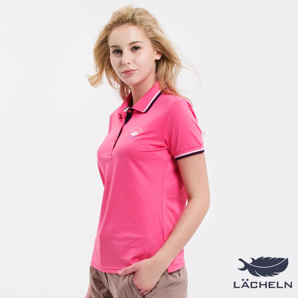 【LACHELN】Coolmax涼爽抗UV彈力POLO衫-粉(L72W910)