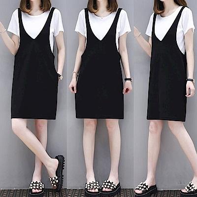 中大尺碼羅紋圓領上衣加黑色大VA字背心裙套裝XL~4L-Ballet Dolly