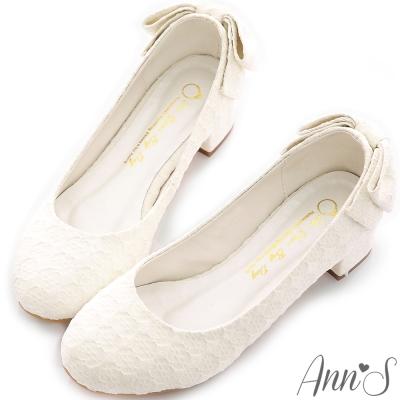 Ann S-Bridal幸福婚鞋甜蜜約定蕾絲蝴蝶結低跟鞋-白