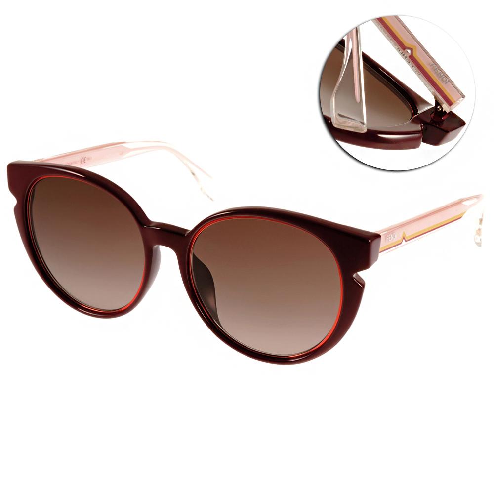 FENDI太陽眼鏡 復古造型圓框/紅-透粉#FS0142FS N7F