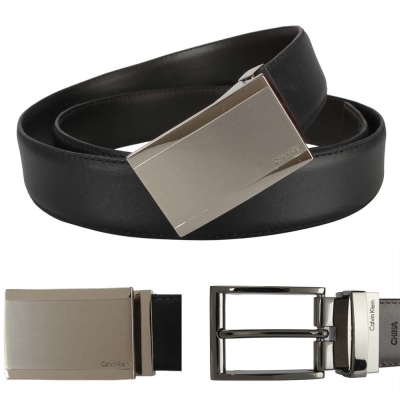 Calvin Klein 簡約金屬雙釦雙色皮帶禮盒