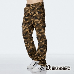 Dreamming 軍規迷彩多口袋休閒工作長褲-黃色