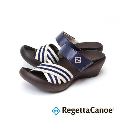 RegettaCanoe-條紋鞋面可調式樂步鞋-海軍藍