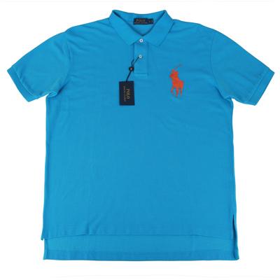 Ralph Lauren 經典戰馬短袖POLO衫(男/藍底大橘馬)