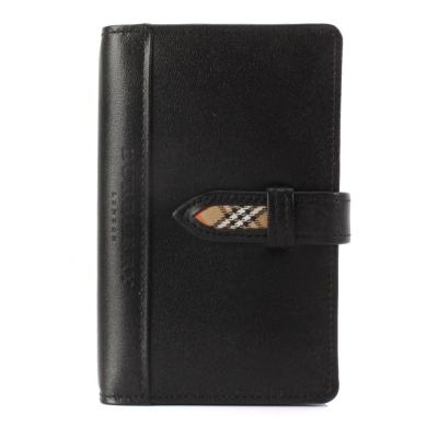 BURBERRY 經典全皮革記事本-口袋型/黑色