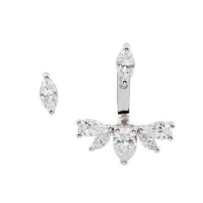 apm MONACO法國精品珠寶 閃耀銀色鑲鋯不對稱梨形水滴耳針式耳環