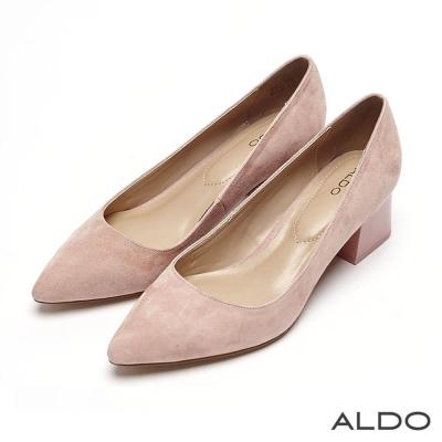 ALDO 原色魅力麂皮車線尖頭粗跟鞋~氣質粉色
