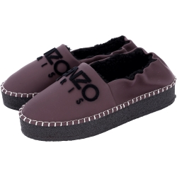 KENZO Kosy 字母LOGO毛絨襯裡厚底鞋(深紫色)