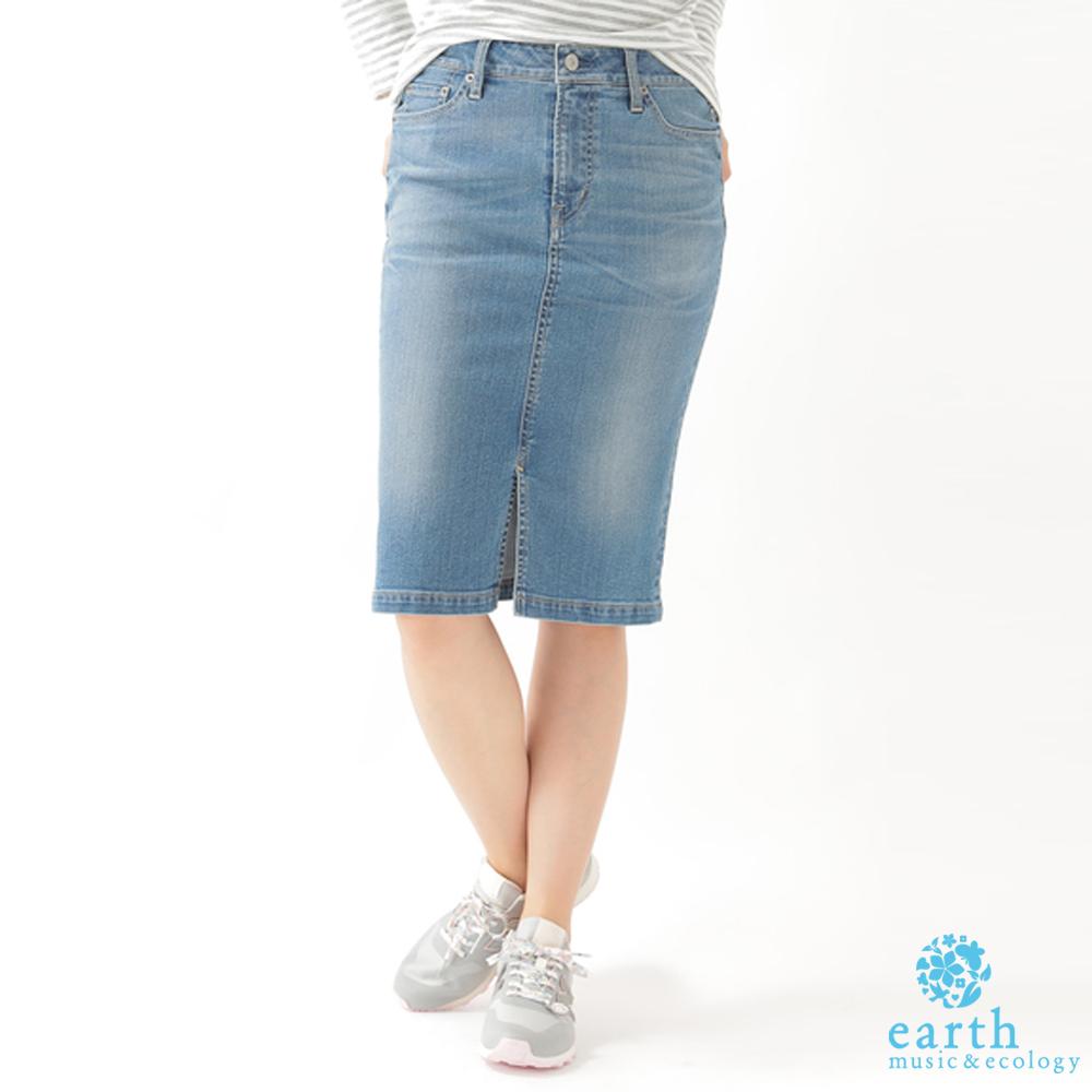 earth music  俐落感前開衩合身牛仔裙
