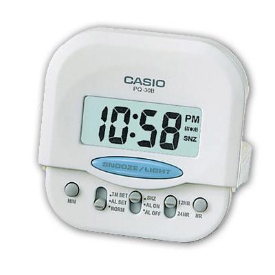 CASIO  輕巧型超小旅行用可摺疊鬧鐘(PQ-30B-7)-白