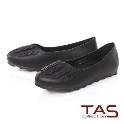TAS立體葉子羊皮娃娃鞋-實搭黑