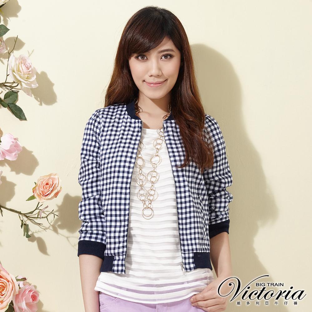 Victoria 格紋短版小外套-女-藍白
