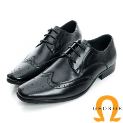 GEORGE-綁帶沖孔圖騰設計真皮牛津紳士鞋-黑色