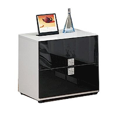 品家居 克萊拉1.6尺雙色二抽床頭櫃-47.8x42.5x47.8cm-免組
