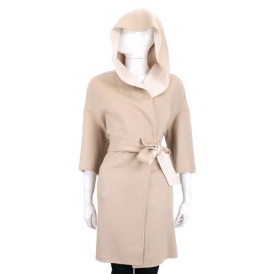 Max Mara 米膚雙色拼接連帽綁帶羊毛外套(90%WOOL)