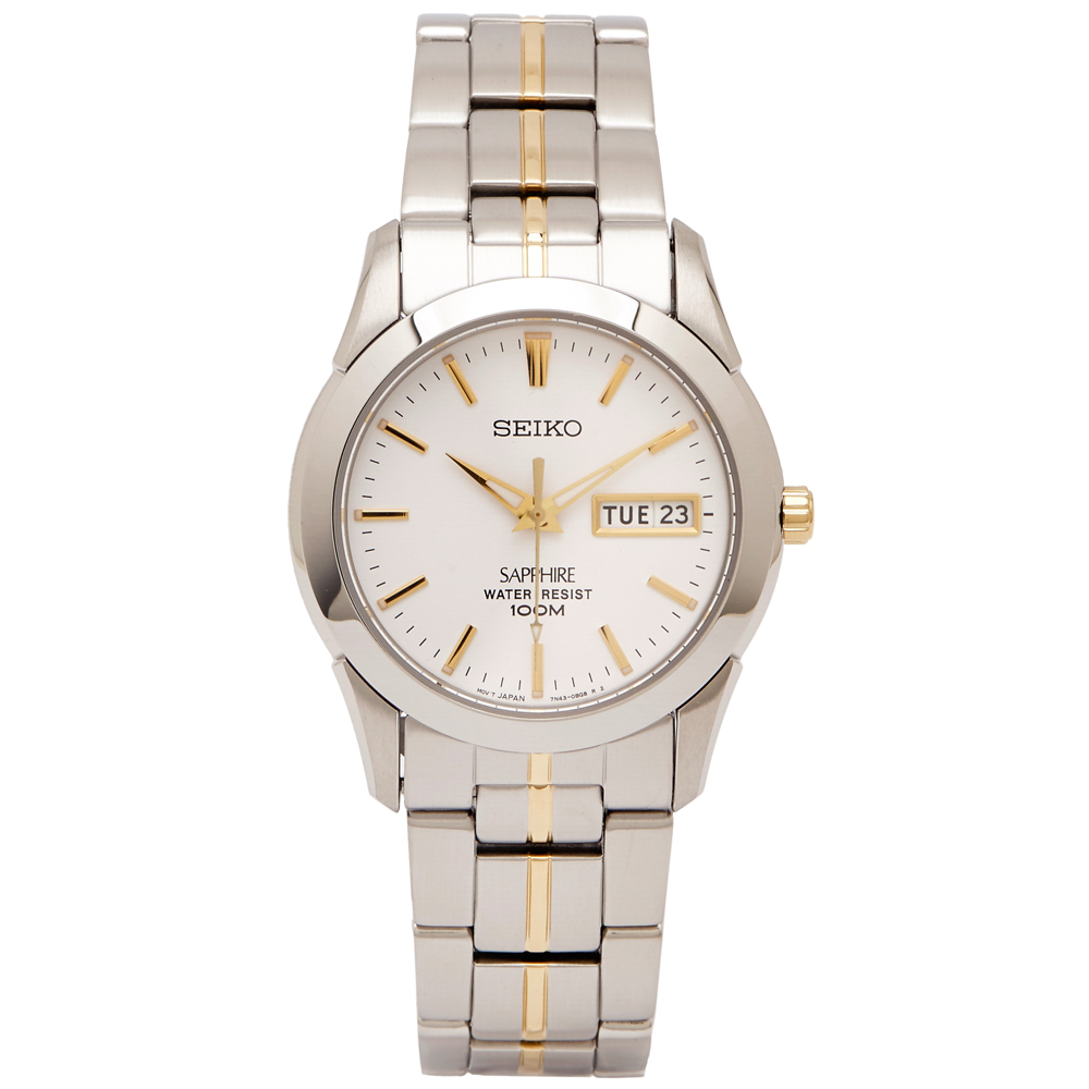 SEIKO 極簡白面的藍寶石鏡面手錶(SGG719P1)-白色面X金色/36mm