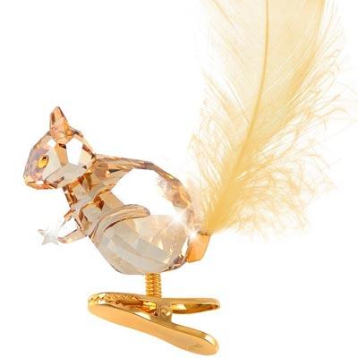 SWAROVSKI 金色松鼠造型立體水晶雕塑掛飾