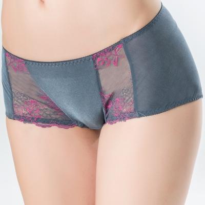 思薇爾 美波系列M-XL低腰蕾絲平口褲(漸層灰)