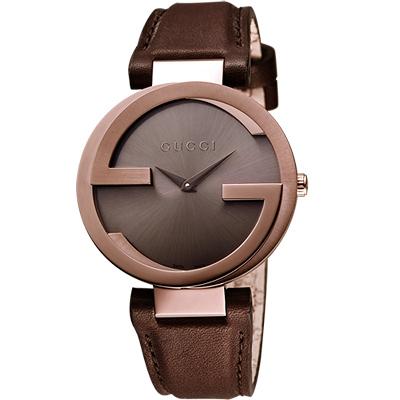 GUCCI-Interlocking-時尚元素腕錶-咖啡x玫塊金框-37mm