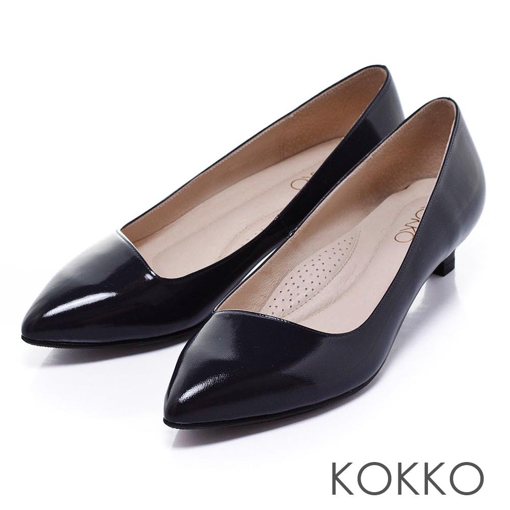 KOKKO真皮手工 - 時髦尖頭斜切軟墊高跟鞋 - 黯藍
