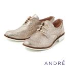 ANDRE-亮粉個性牛津平底鞋-耀眼金