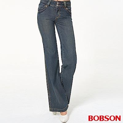 BOBSON 女款小尻革命寬版腰頭大喇叭牛仔褲