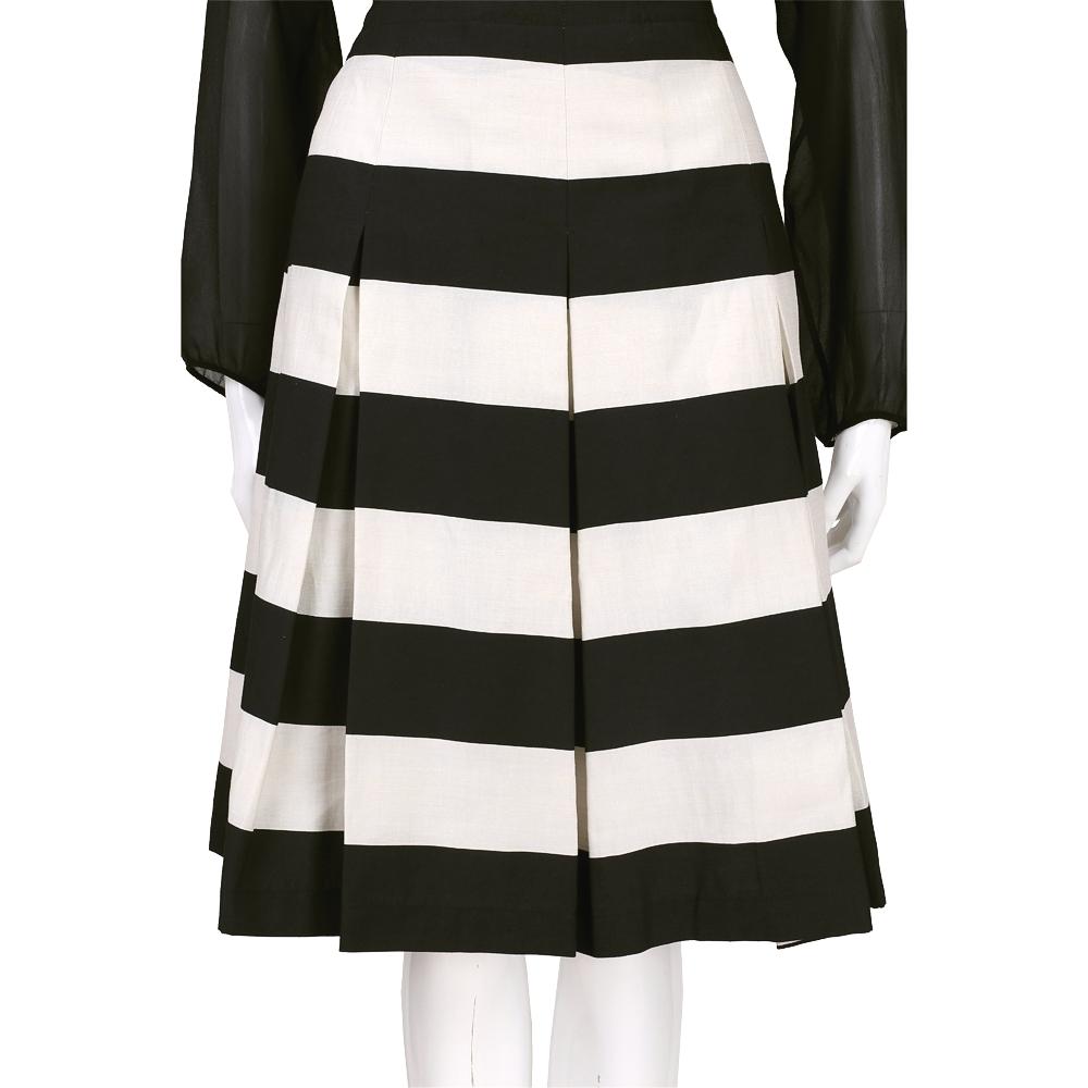 Max Mara-WEEKEND 米x黑色條紋抓摺設計及膝裙